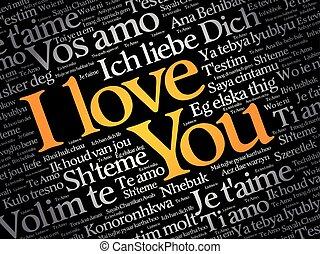 "olik, kärlek, ""i, you"", språk, ord"