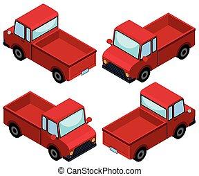 olik, lastbilar, uppe, fyra, metar, hacka, röd