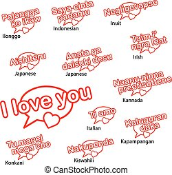 olik, ord, språk, concep, kärlek, dig