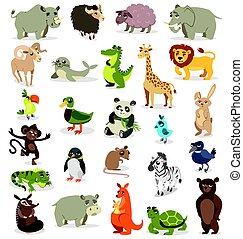 olik, sätta, djuren, illustration, bakgrund., vektor, vit