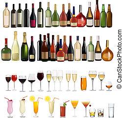 olik, sätta, drinkar buteljerar