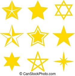 olik, sätta, illustration, bakgrund., vektor, stjärnor, vit