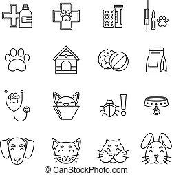 olik, sätta, linjär, ikonen, bilder, isolera, vektor, veterinär, clinic., vit, redskapen, pets., omsorg