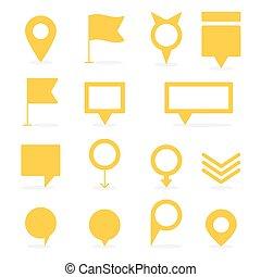 olik, sätta, pekare, isolerat, gul, formar, märken