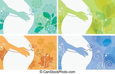olik, sätta, silhuett, gravid, krydda, kvinna, baner