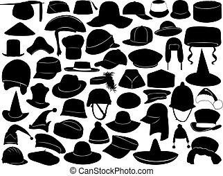 olik, slagen, av, hattar
