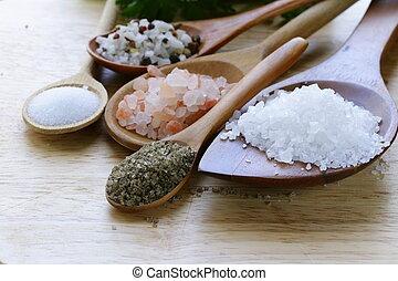 olik, slagen, av, salt