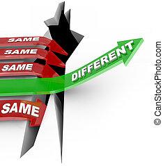 olik, taktslagen, samma, enastående, nyskapande, vs, status,...