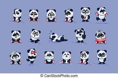 olik, tecken, emoticons, sinnesrörelser, isolerat, panda, ...