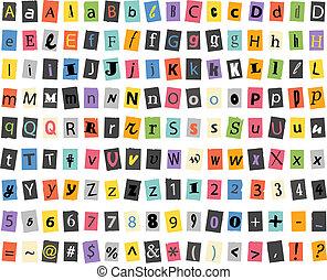 olik, underteckna, och, symboler, på, papper, ark, isolerat,...