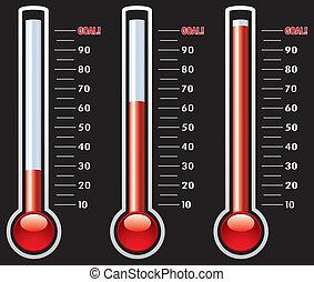 olik, vektor, termometern, nivåer