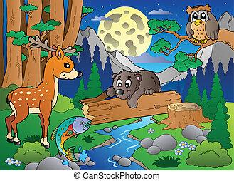 olika, 2, djuren, scen, skog