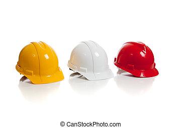 olika, arbetsamma hattar, på, a, vit fond