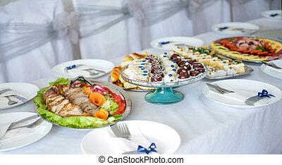 olika, catering, mat, bord, och, mat, dekoration