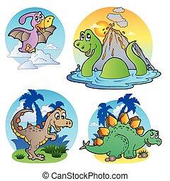 olika, dinosaurie, avbildar, 1
