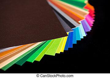 olika, färgrik, papper