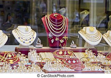 olika, guld, och, silver, smycken