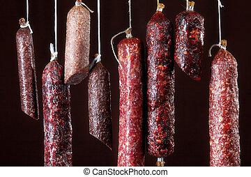 olika, hängande, salami, korvar