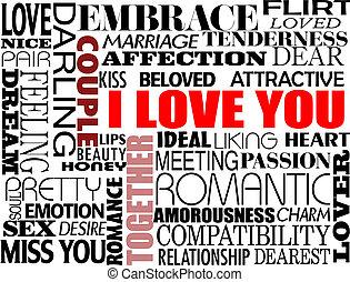 olika, kärlek, ord