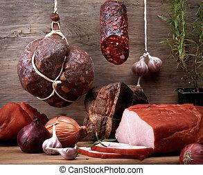 olika, kött, och, korvar