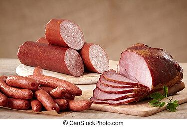 olika, korvar, och, kött