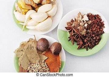 olika, kryddor, asien, hotpot, material