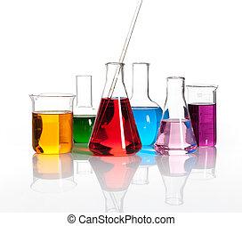 olika, laboratorium, termosflaskor, med, a, färgad, liqiuds