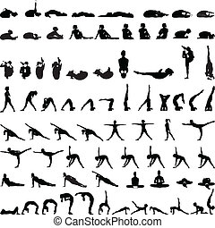 olika, silhouettes, ställingar, yoga, v