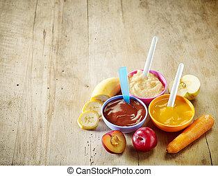 olika, slagen, av, babyfood