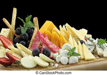olika, slagen, av, ost, på, a, ost uppläggningsfat
