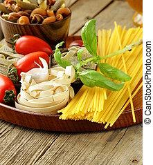 olika, slagen, av, pasta, spagetti,