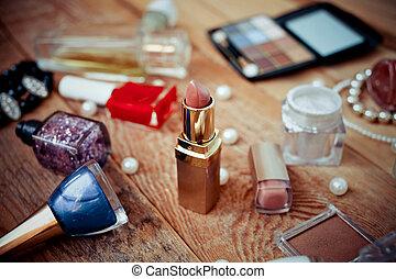 olika, smink, produkter, på, trä