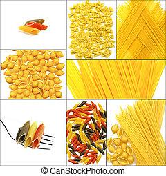 olika, typ, av, italiensk, pasta, collage