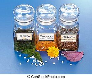olika, växt, extrakt, in, flaskor, och, homeopatisk,...