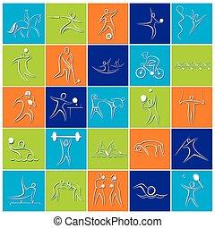 olimpiady, gra, projektować, symbol