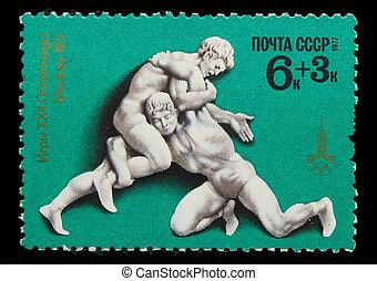 olimpiai, 1980, bélyeg, szovjetúnió, moszkva, -, birkózás, ...