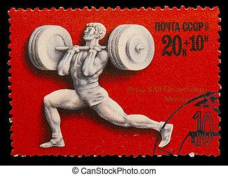 olimpiai, 1980, bélyeg, weightlifting, moszkva, -, ...