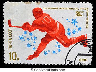 olimpiai, egyesült, korong, tél, 1980, bélyeg, egyesült ...