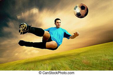 olimpiai, játékos, labdarúgás, ég terep, boldogság, stadion...
