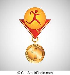 olimpijski, medal, atletyka, złoty, ikona