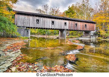 olins, dewey, camino, puente cubierto, en, otoño