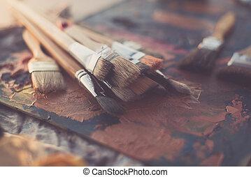 olio, arte, pennellate, pallet, vernice, set, vista, lato,...