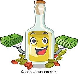 olio, borsa, soldi, carattere, pistacchio, bottiglia