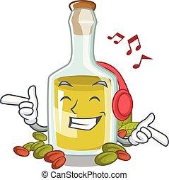 olio, bottiglia, carattere, pistacchio, ascoltare musica