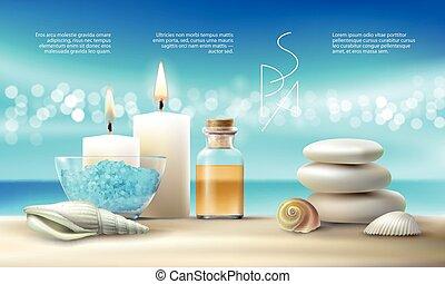 olio, candles., trattamenti, illustrazione, vettore, aromatico, terme, sale, massaggio