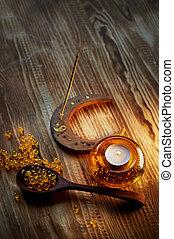 olio, capsule, fish, candeliere, aria, vetro, giallo, incenso, candela, bolle, dentro, fumo, bastone