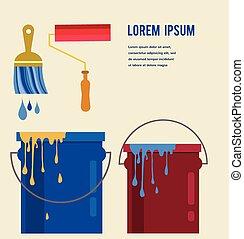 olio, creatività, rullo, set, concetto, colorare, lattine, spazzole, metallo