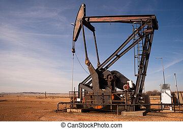 olio, dakota nord, fracking, macchina, estrazione, pompare...