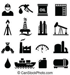 olio, e, benzina, icona, set