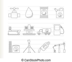 olio, e, benzina, industria, oggetti